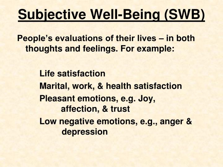Subjective well being swb