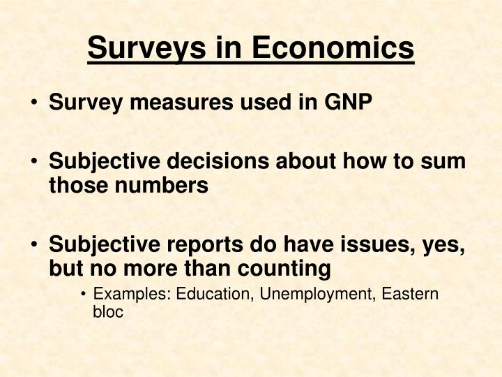Surveys in Economics