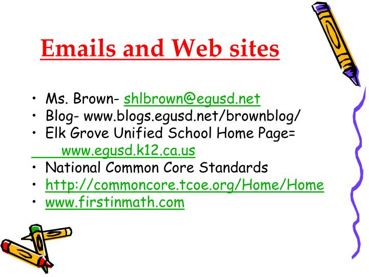 Emails and Web sites