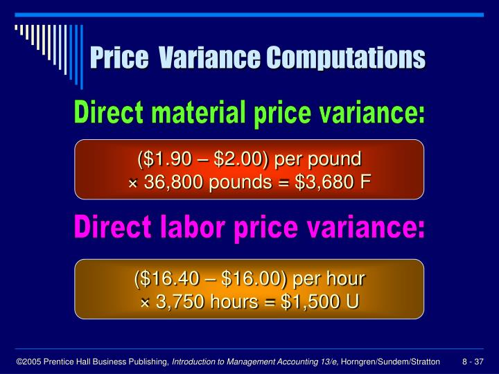 Price  Variance Computations