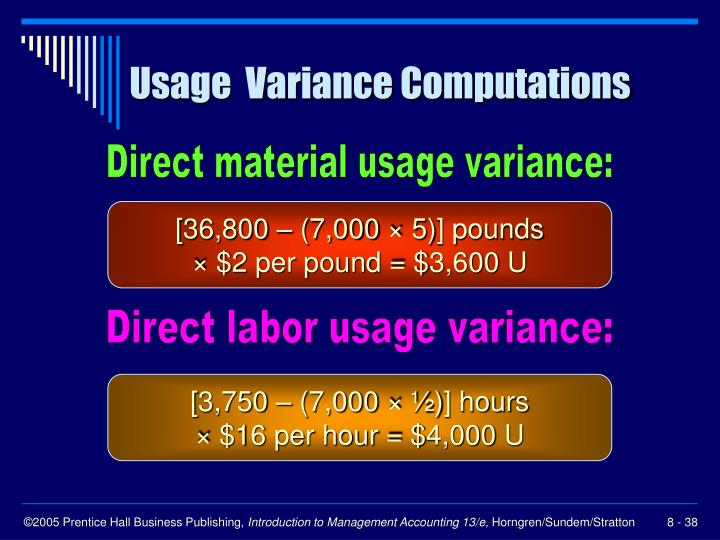 Usage  Variance Computations