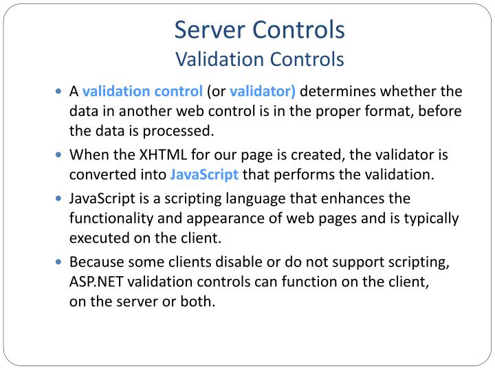 Server controls validation controls