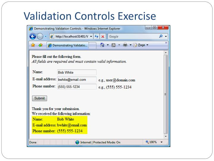 Validation Controls Exercise