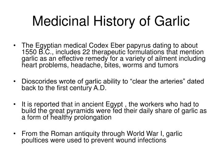 Medicinal History of Garlic