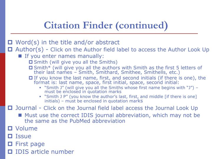 Citation Finder (continued