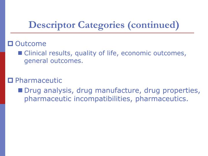 Descriptor Categories (continued
