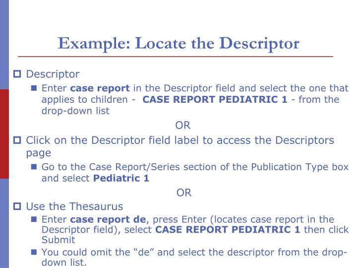 Example: Locate the Descriptor