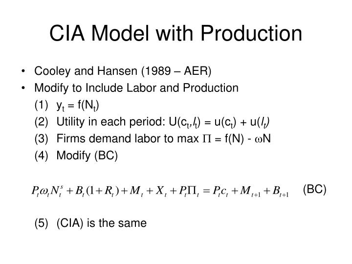 CIA Model with Production