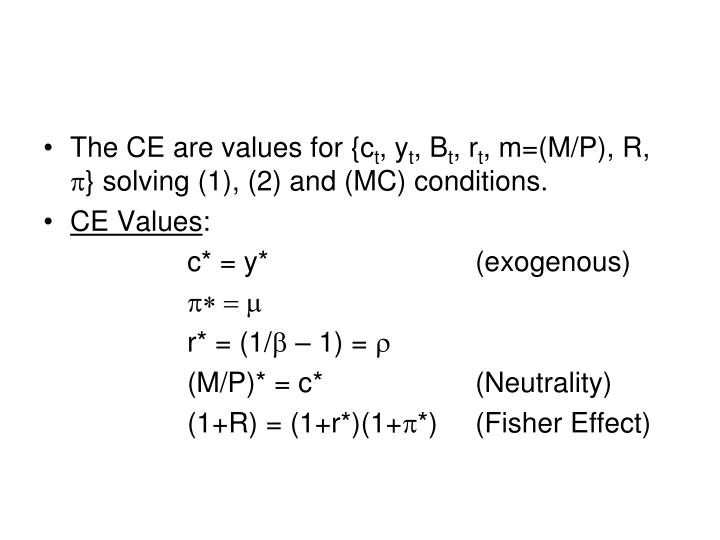 The CE are values for {c