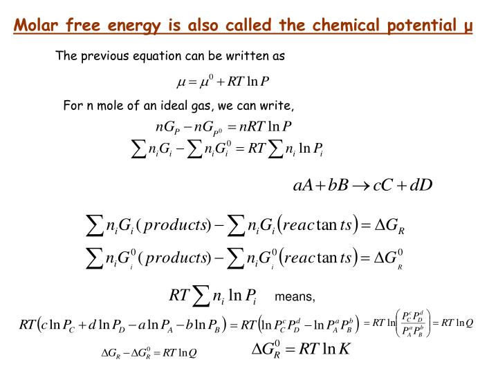 Molar free energy is also called the chemical potential