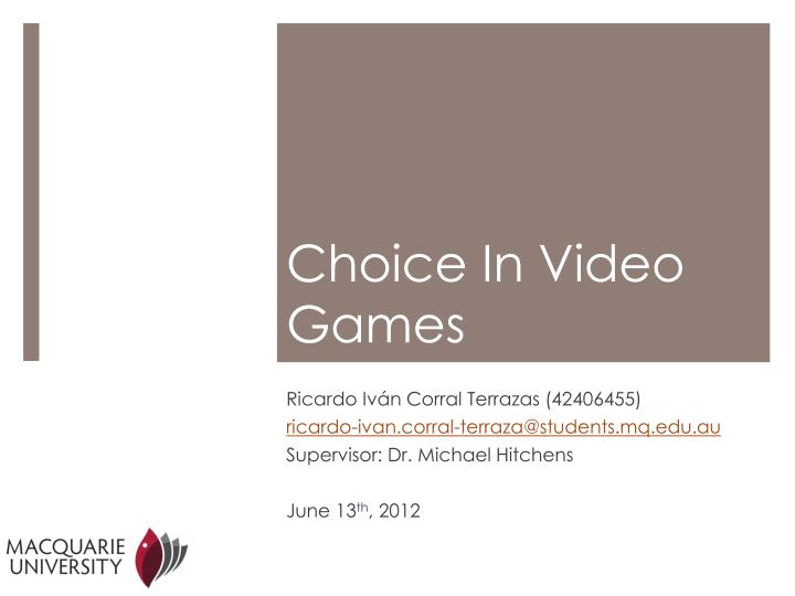 choice in video games
