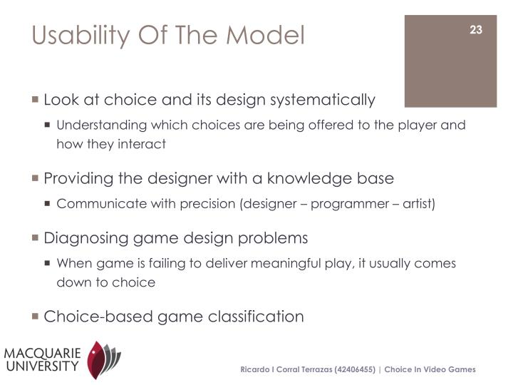 Usability Of The Model
