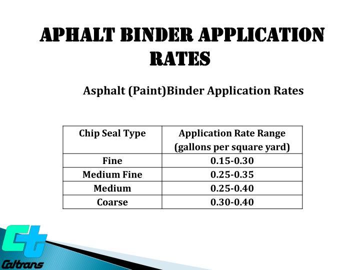APHALT BINDER APPLICATION  RATES
