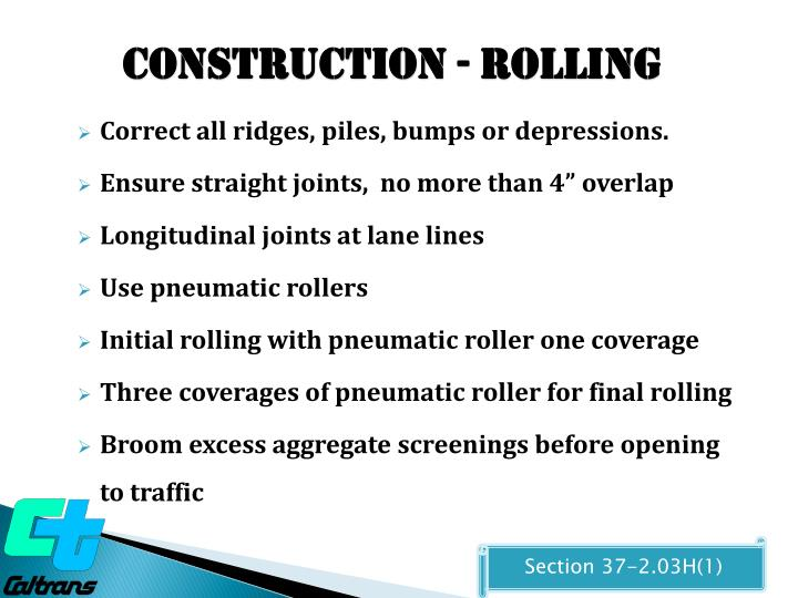 Construction - Rolling