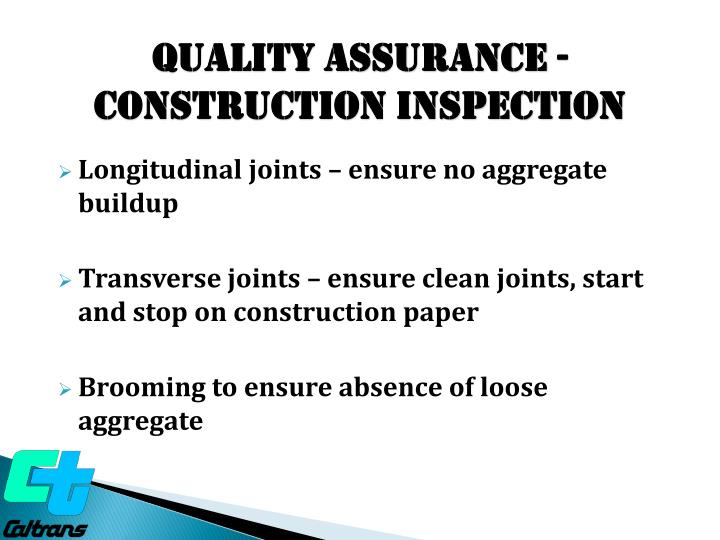 Quality ASSURANCE - construction Inspection