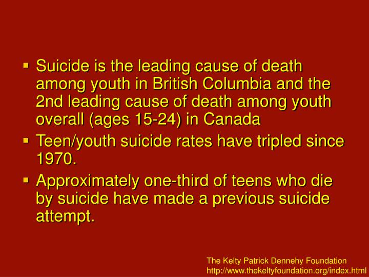 Suicide is the leading cause of death among youth in British Columbia and the 2nd leading cause of death among youth overall (ages 15-24) in Canada