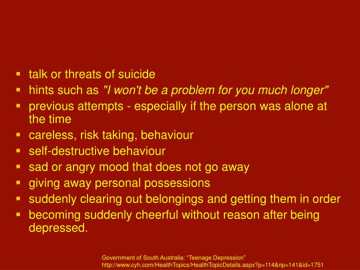 talk or threats of suicide