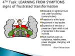 4 th task learning from symptoms signs of frustrated transformation