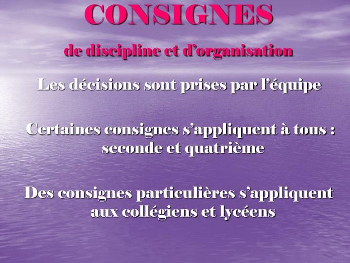 CONSIGNES