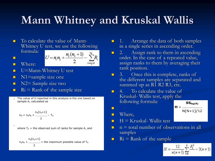 To calculate the value of Mann-Whitney U test, we use the following formula: