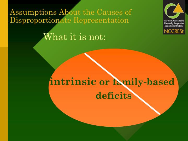 Assumptions About the Causes of Disproportionate Representation