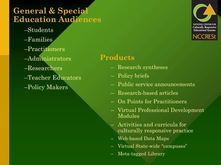 General & Special Education Audiences