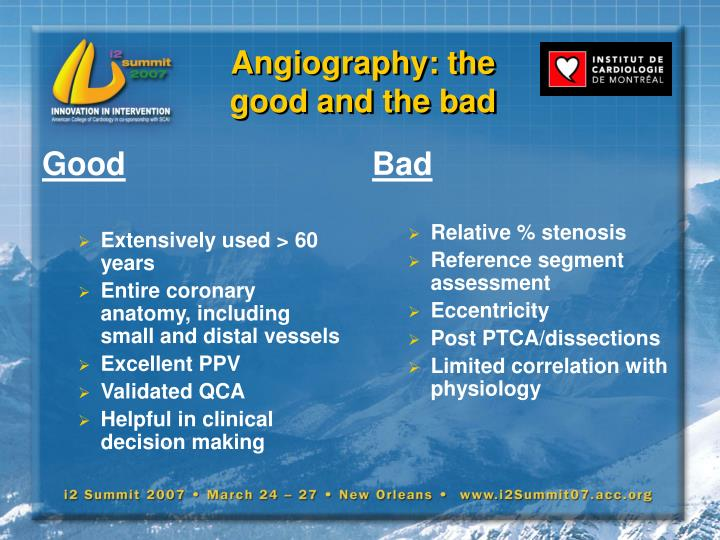 Angiography the good and the bad