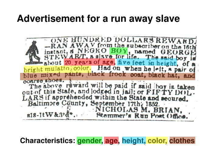 Advertisement for a run away slave