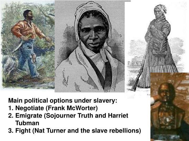 Main political options under slavery: