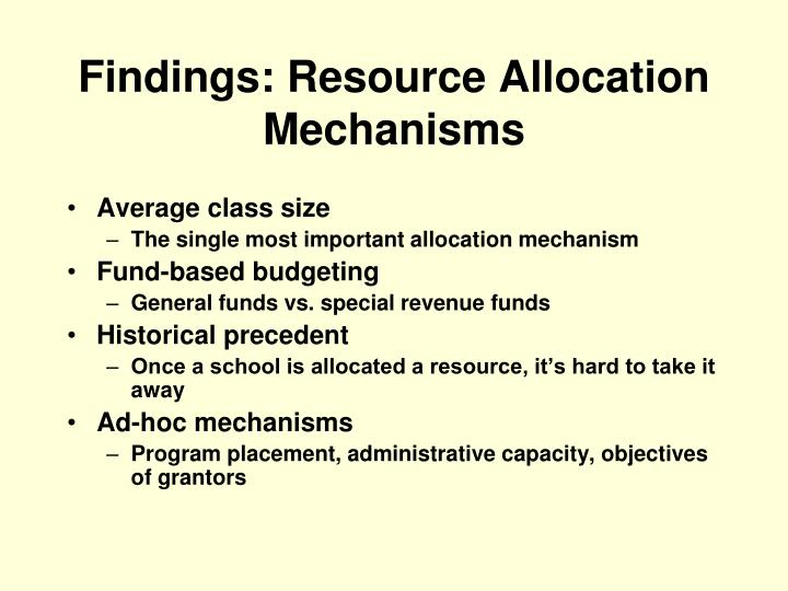 Findings: Resource Allocation Mechanisms