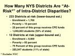 how many nys districts are at risk of intra district disparities