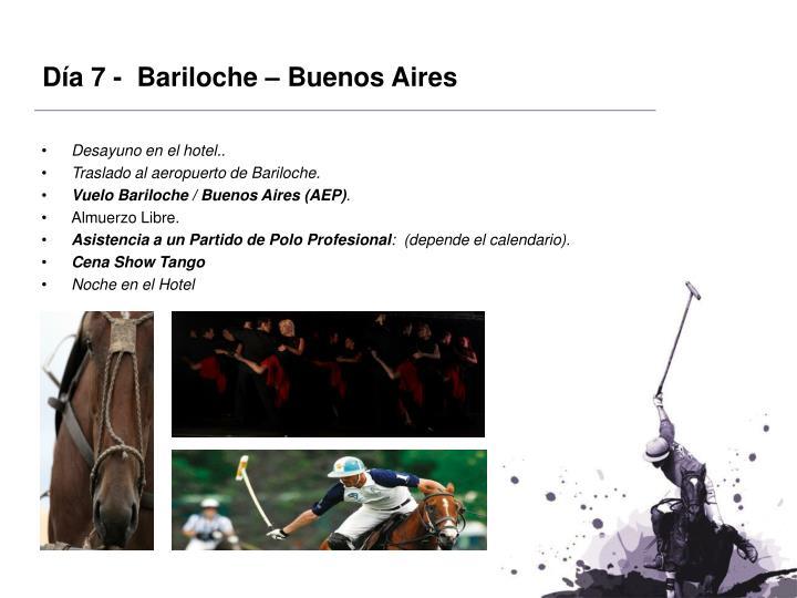 Día 7 -  Bariloche – Buenos Aires