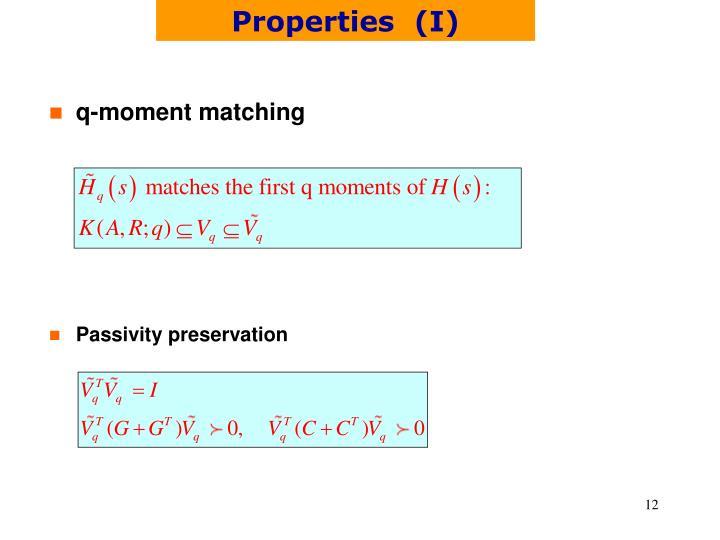 Properties  (I)