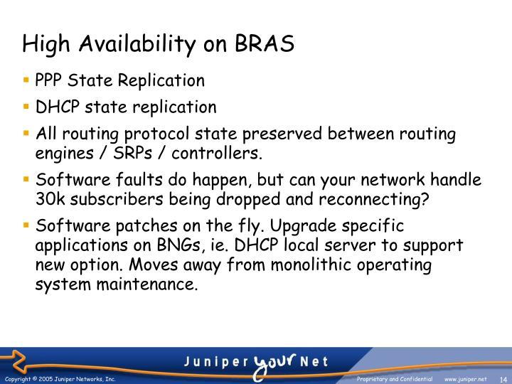 High Availability on BRAS