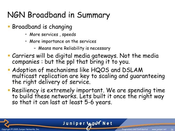 NGN Broadband in Summary