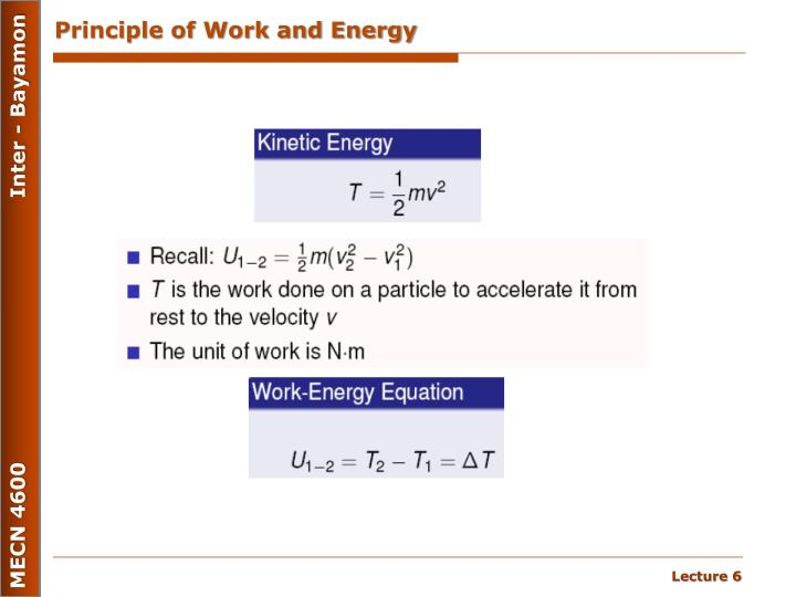 Principle of Work and Energy