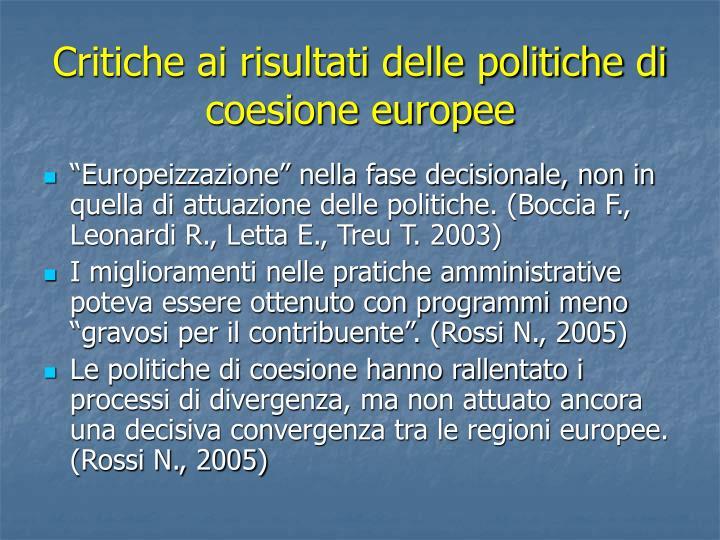 Critiche ai risultati delle politiche di coesione europee