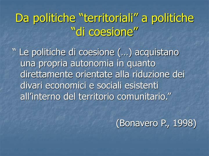 """Da politiche """"territoriali"""" a politiche """"di coesione"""""""