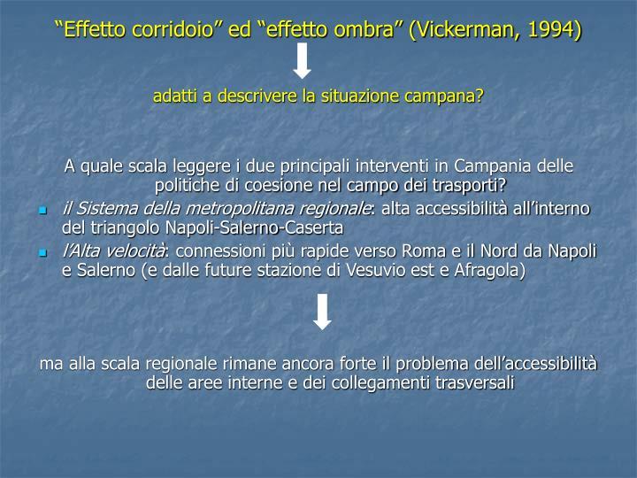 """""""Effetto corridoio"""" ed """"effetto ombra"""" (Vickerman, 1994)"""