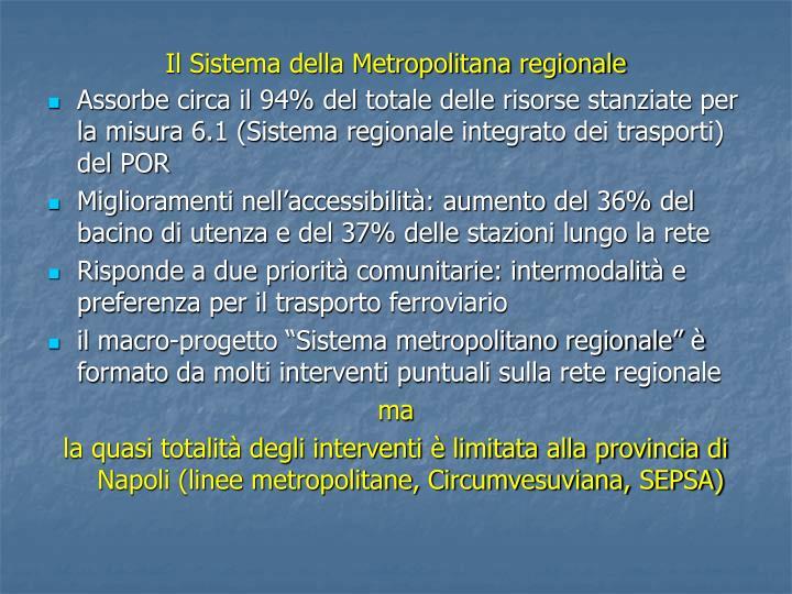 Il Sistema della Metropolitana regionale
