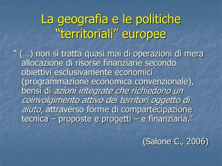 """La geografia e le politiche """"territoriali"""" europee"""