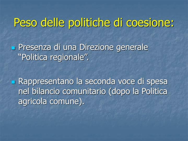 Peso delle politiche di coesione: