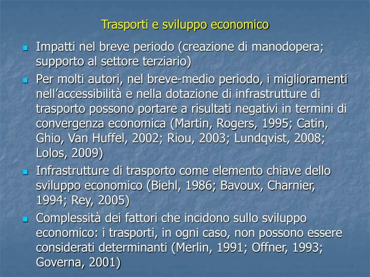 Trasporti e sviluppo economico