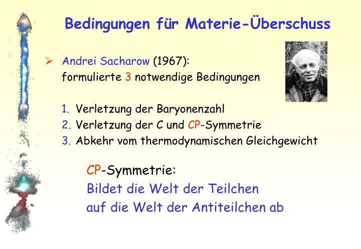 Bedingungen für Materie-Überschuss