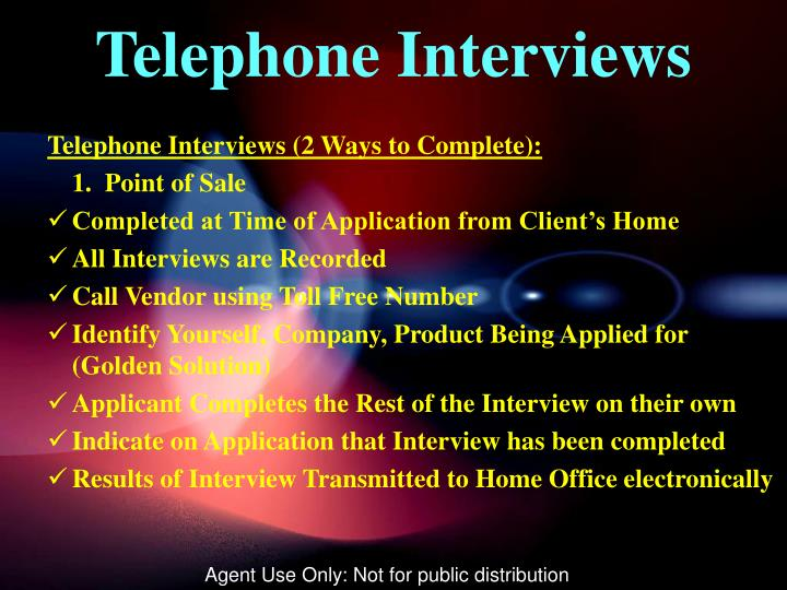 Telephone Interviews