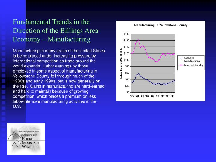 Fundamental Trends in the Direction of the Billings Area Economy – Manufacturing