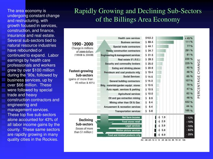 Rapidly Growing and Declining Sub-Sectors of the Billings Area Economy