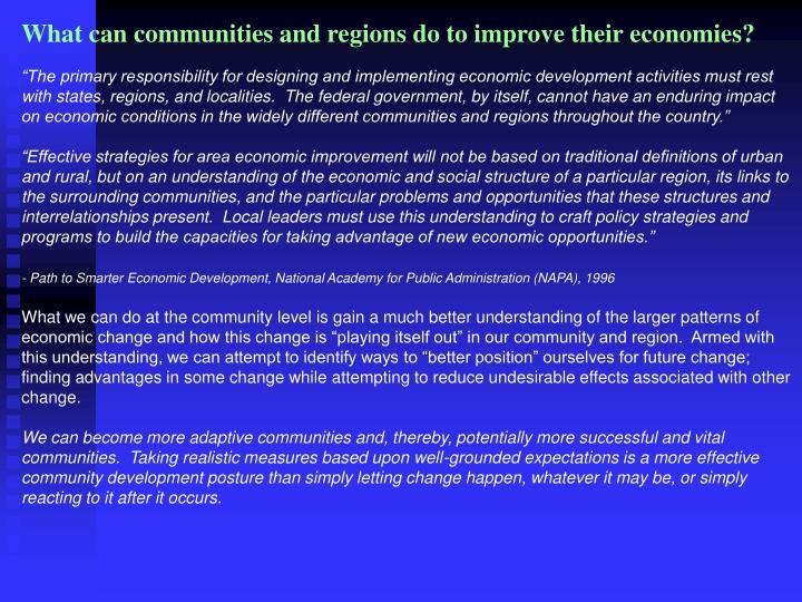 What can communities and regions do to improve their economies?