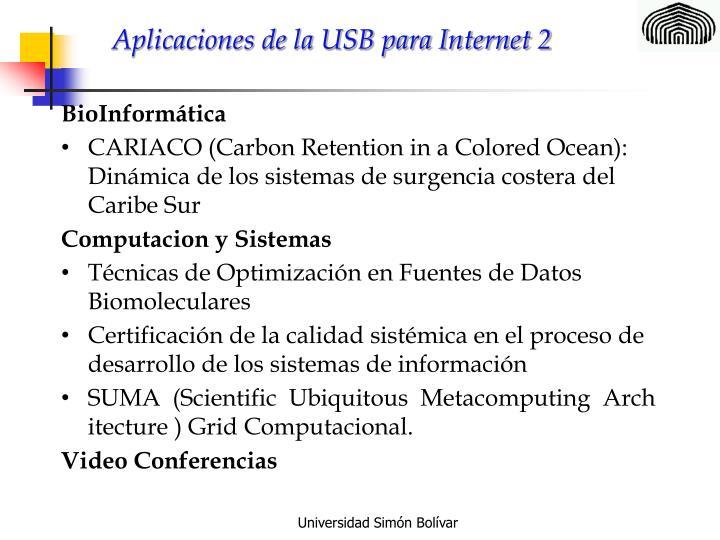 Aplicaciones de la USB para Internet 2