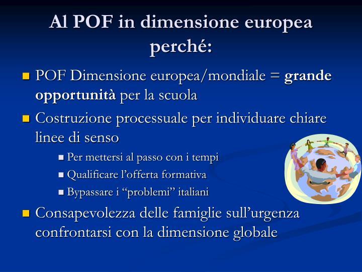 Al POF in dimensione europea perché: